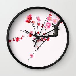 red plum flower red background Wall Clock