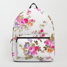 Aurora pink gold country chic boho floral pattern Backpack