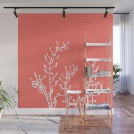 Living Coral Elegant Botanical Abstract Wall Mural