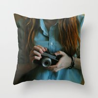photographer Throw Pillows featuring Photographer by Jelena Pejovic