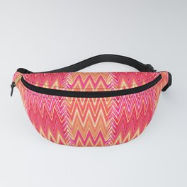Flame Stitch Pattern, Coral, Fuchsia Pink and Gold Fanny Pack