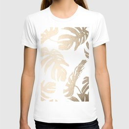 Simply Tropical Palm Leaves in White Gold Sands T-shirt