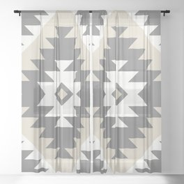 Tangiers Kilim in Cream and Grey Sheer Curtain