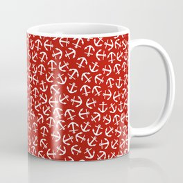 Maritime small Nautical Red and White Anchor Pattern - Anchors Coffee Mug