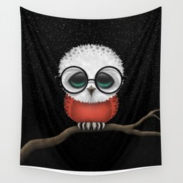 Baby Owl with Glasses and Polish Flag Wall Tapestry