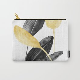 Bird of Paradise Plant Black, White and Gold 02 Carry-All Pouch