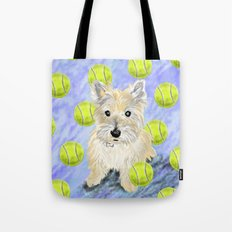 Miss Caroline the Cairn Terrier is Obsessed About Fetching Tennis Balls Tote Bag