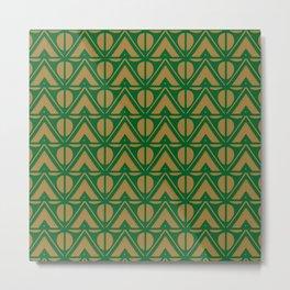 Green Sun & Mountains Abstract Retro Metal Print