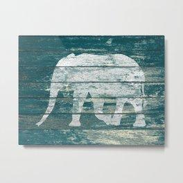 Elephant Silhouette on Blue Wood A215B Metal Print