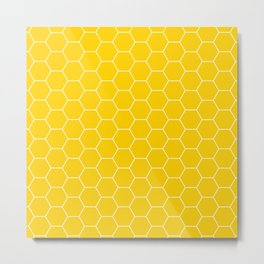 Honeycomb yellow and white pattern Metal Print