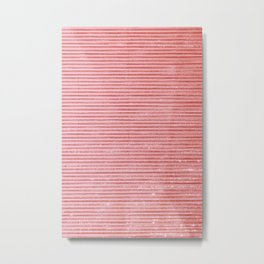Strawberry Pink Stripes Metal Print
