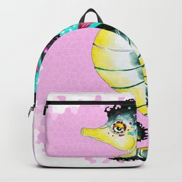 Seahorse Pink Stained Glass Pattern Backpack