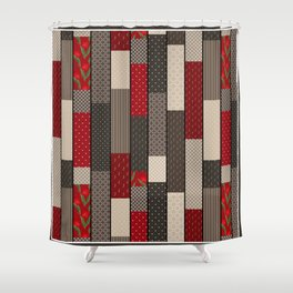 Country motifs . Classic quilting. Shower Curtain