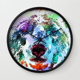 Polar Bear Watercolor Grunge Wall Clock