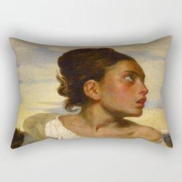 """Eugène Delacroix """"Jeune orpheline au cimetière (The Orphan Girl at the cemetery)"""" Rectangular Pillow"""