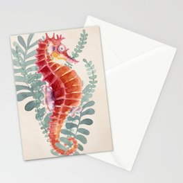 Red Sea Horse Watercolor Stationery Cards
