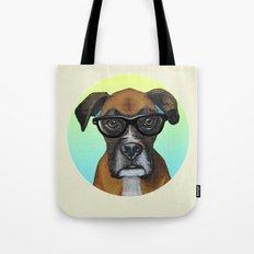 Hipster Boxer dog Tote Bag