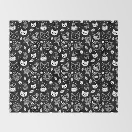 Herb Witch // Black & White Throw Blanket