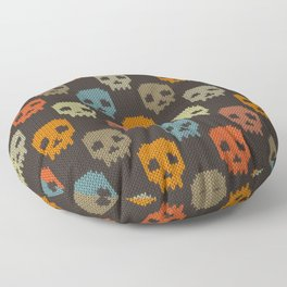 Knitted skull pattern - colorful Floor Pillow