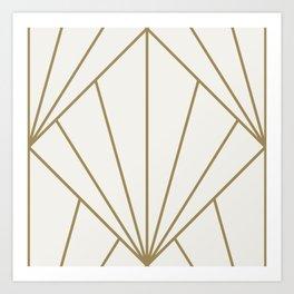Diamond Series Sun Burst Gold on White Art Print