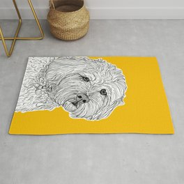 Cockapoo Dog Portrait ( yellow background ) Rug