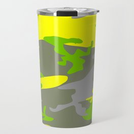 Bright Yellow army camouflage pattern design Travel Mug