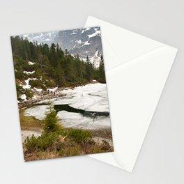 Tourists trek around Morskie Oko Lake Stationery Cards