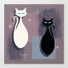 Jazzy Midcentury Modern Black And White Abstract Cats Canvas Print