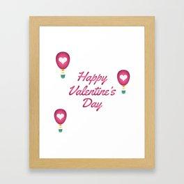 Happy Valentine's Day Love Heart Balloons Framed Art Print