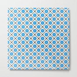 Maltese Tiles Pattern - Blue Metal Print