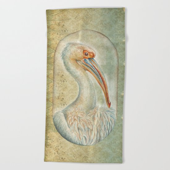 PELICAN IN CAPSULE Beach Towel