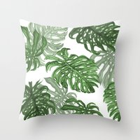 palms Throw Pillows featuring Monstera Deliciosa by Laura O'Connor