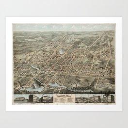 Vintage Pictorial Map of Brockton MA (1878) Art Print