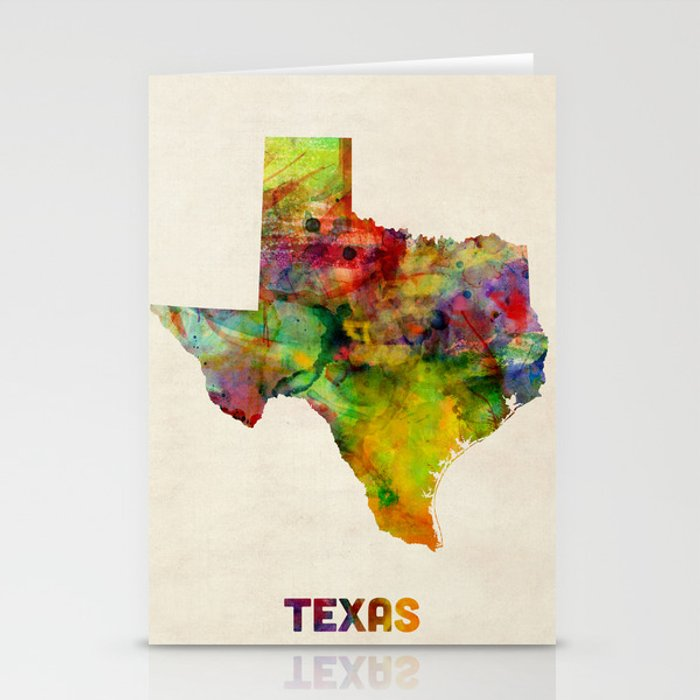 Texas Watercolor Map Stationery Cards