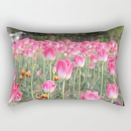 A Field Of Pink Tulips Rectangular Pillow