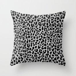 Neon Gray Leopard Throw Pillow