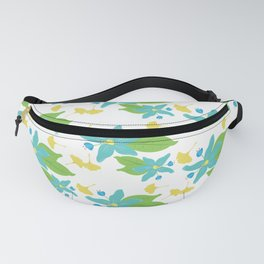 Blue Flower and Yellow Leaf Pattern Fanny Pack