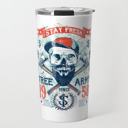 Stay Fresh Tree Army Vintage Skull Travel Mug