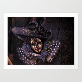 Venetian Feather Mask Art Print