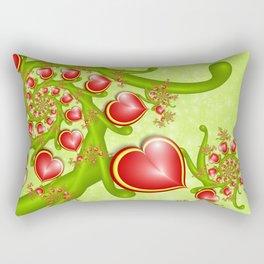 Red Hearts Fractal Rectangular Pillow
