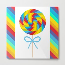 candy lollipop with bow, colorful spiral candy cane Metal Print