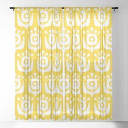 Retro Flower Pattern Yellow Sheer Curtain