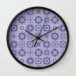 Folk Art Mosaic Tile Pattern Purple Wall Clock