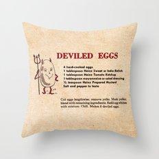 Deviled Eggs - Vintage Recipes Throw Pillow