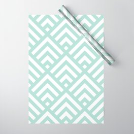 Turquoise Blue geometric art deco diamond pattern Wrapping Paper