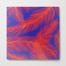 Tropical Palm Print - Red and Blue Metal Print