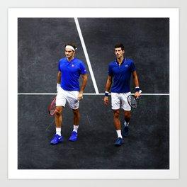 Federer and Djokovic Doubles Art Print