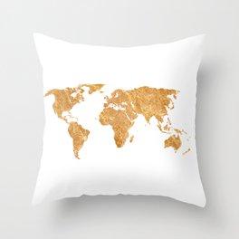 Gold World Throw Pillow