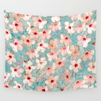 bedding Wall Tapestries featuring Shabby Chic Hibiscus Patchwork Pattern in Peach & Mint by micklyn