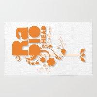 "radiohead Area & Throw Rugs featuring Radiohead ""Last flowers"" Song / Orange version by LilaVert"